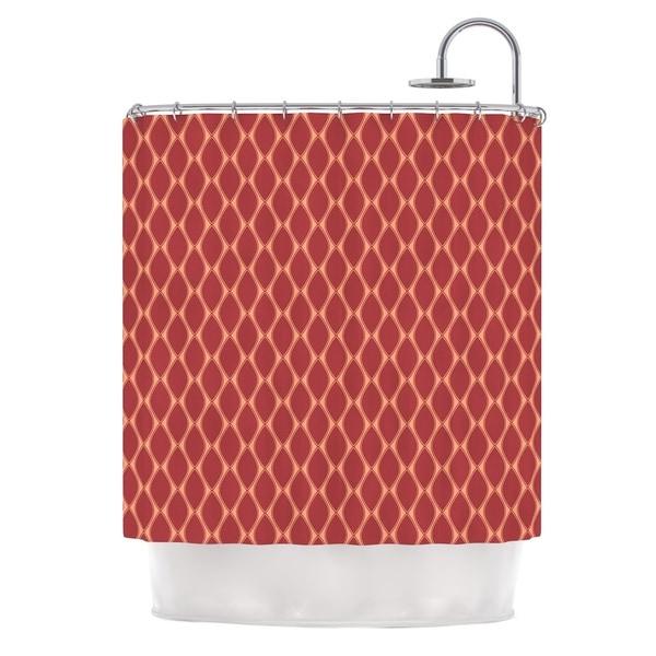 KESS InHouse Nandita Singh Marsala & Peach Red Pattern Shower Curtain (69x70)
