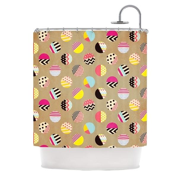 KESS InHouse Louise Machado Fun Circle Brown Geometric Shower Curtain (69x70)