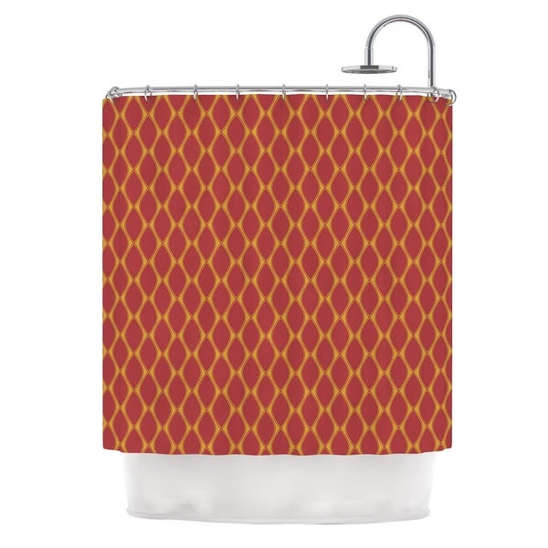 KESS InHouse Nandita Singh Marsala & Mustard Red Pattern Shower Curtain (69x70)