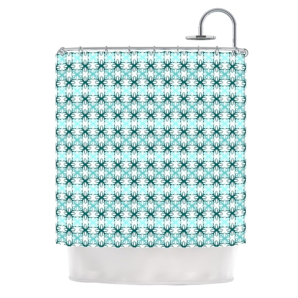 KESS InHouse Nandita Singh Blue Motifs Aqua Geometric Shower Curtain (69x70) - 69 x 70