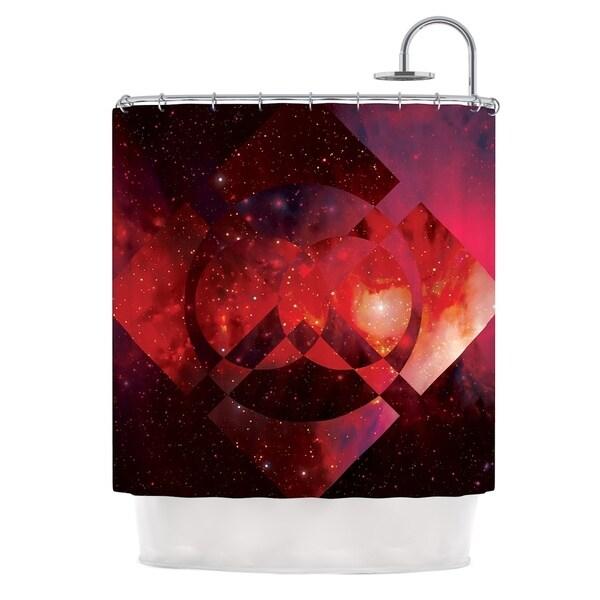 KESS InHouse Matt Eklund Galactic Radiance Crimson Red Pink Shower Curtain (69x70)