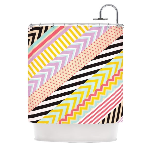 KESS InHouse Louise Machado Diagonal Tape Multicolor, Geometric Shower Curtain (69x70)