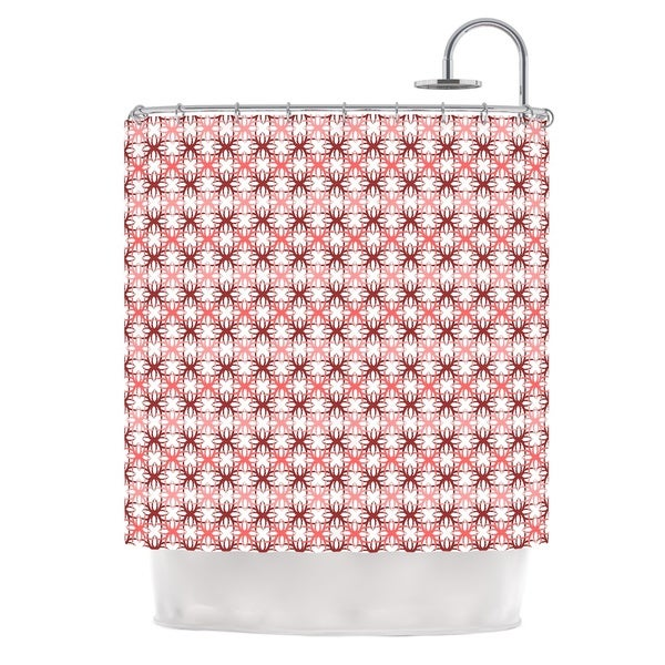 KESS InHouse Nandita Singh Pink Motifs Red Pattern Shower Curtain (69x70)
