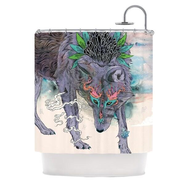 KESS InHouse Mat Miller Journeying Spirit Wolf Shower Curtain (69x70)