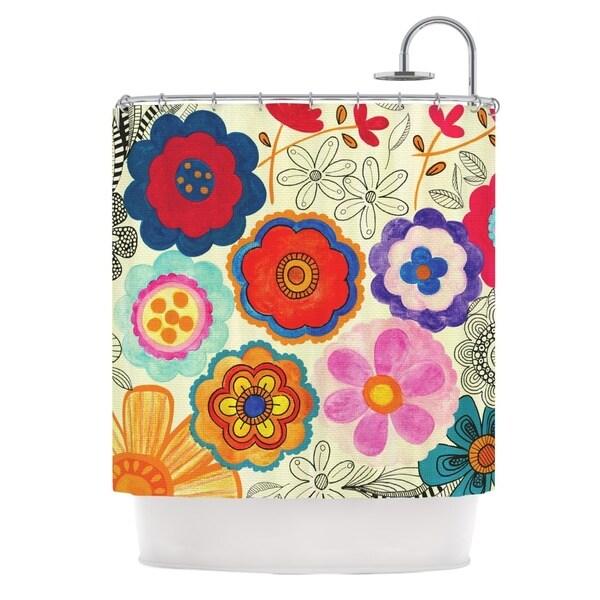 KESS InHouse Louise Machado Charming Floral Floral Multicolor Shower Curtain (69x70)