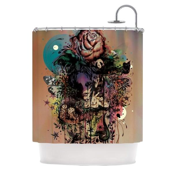 KESS InHouse Mat Miller Doom and Bloom Dark Rose Shower Curtain (69x70)
