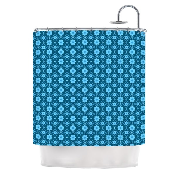 KESS InHouse Nandita Singh Floral Blue Aqua Pattern Shower Curtain (69x70) - 69 x 70