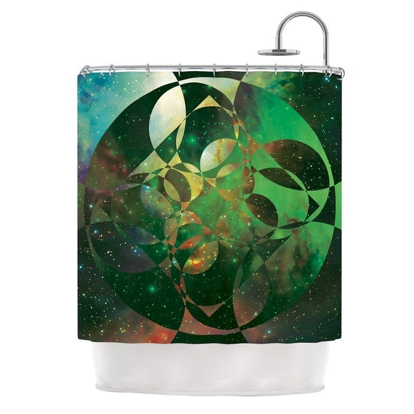 KESS InHouse Matt Eklund Galactic Brilliance Geometric Green Shower Curtain (69x70)