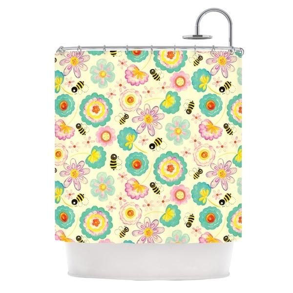 KESS InHouse Louise Machado Floral Bee Tan Teal Shower Curtain (69x70)