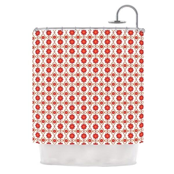 KESS InHouse Nandita Singh Foral Red Crimson Pattern Shower Curtain (69x70)