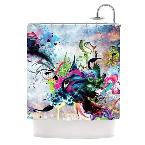 KESS InHouse Mat Miller Streaming Eyes Multicolor Abstract Shower Curtain (69x70)