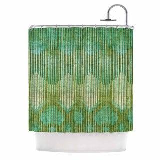 KESS InHouse Michelle Drew Vintage Ikat Green Gold Gold Green Shower Curtain (69x70)