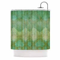 KESS InHouse Michelle Drew Vintage Ikat Green Gold Gold Green Shower Curtain (69x70) - 69 x 70