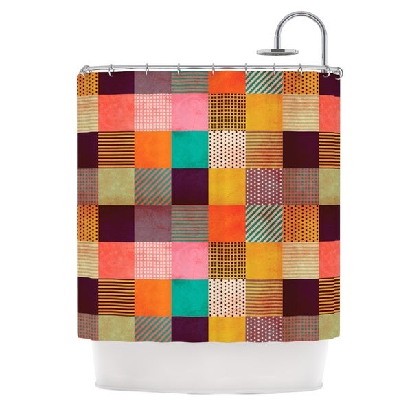 KESS InHouse Louise Machado Decorative Pixel Warm Patches Shower Curtain (69x70)