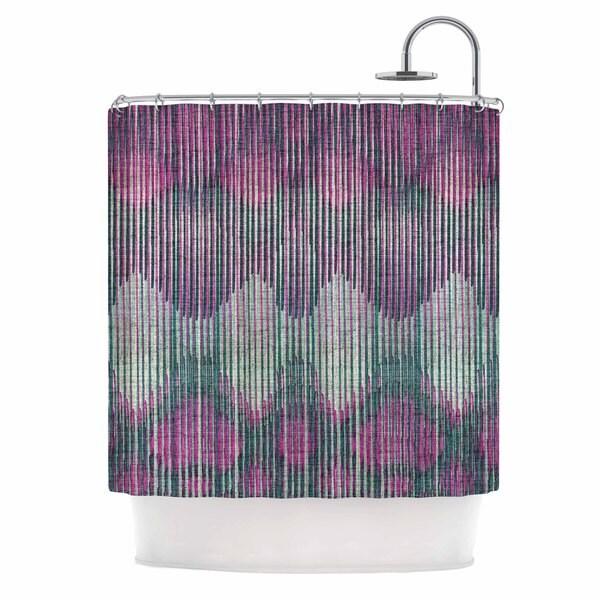 KESS InHouse Michelle Drew Vintage Ikat Pink Green Magenta Shower Curtain (69x70)