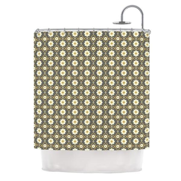 KESS InHouse Nandita Singh Floral Grey Brown Pattern Shower Curtain (69x70)