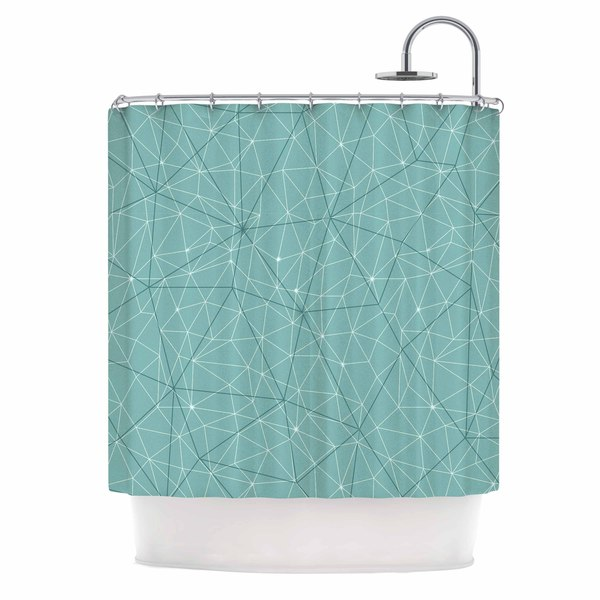KESS InHouse Michelle Drew Wanderlust Blue River Song Blue Geometric Shower Curtain (69x70) - 69 x 70