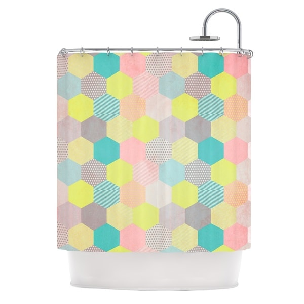 KESS InHouse Louise Machado Pastel Hexagon Geometric Shower Curtain (69x70)