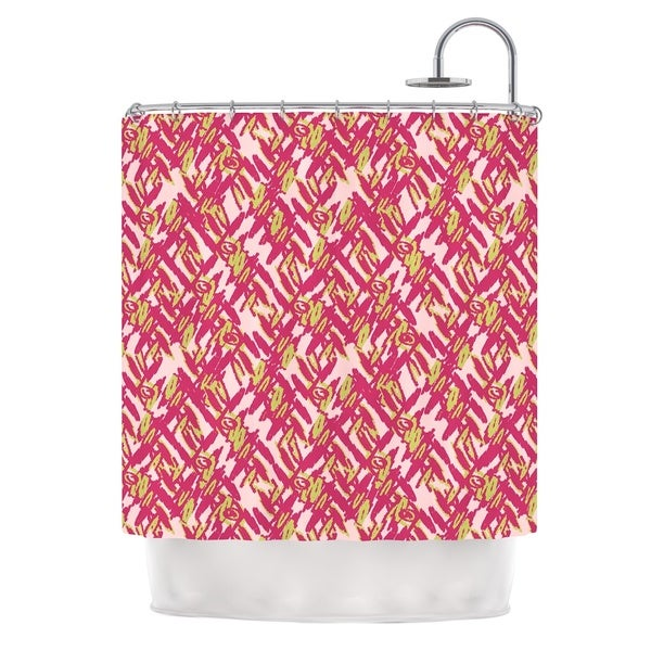 KESS InHouse Nandita Singh Abstract Print Pink Pink Red Shower Curtain (69x70)