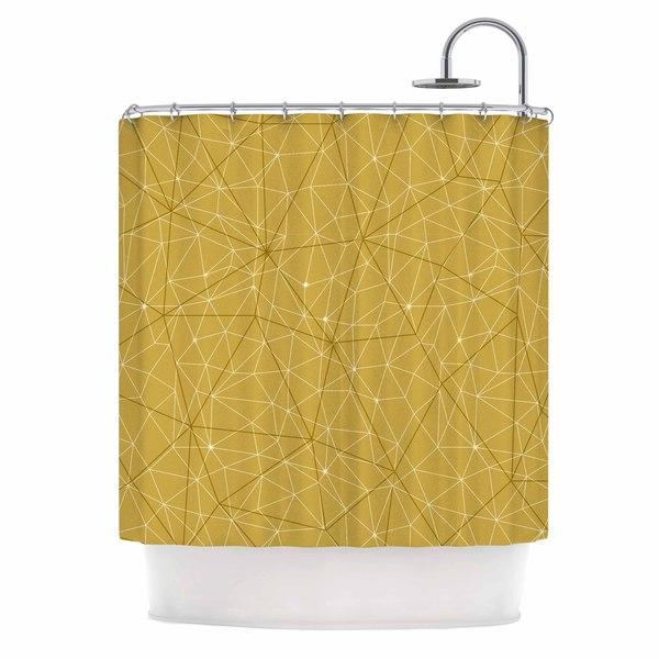 KESS InHouse Michelle Drew Wanderlust Hazy Skies Yellow Geometric Shower Curtain (69x70)