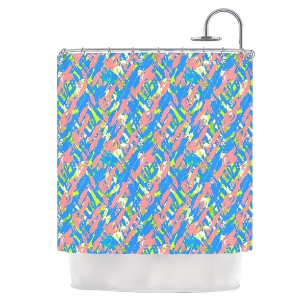 KESS InHouse Nandita Singh Abstract Print Blue Blue Pink Shower Curtain (69x70)