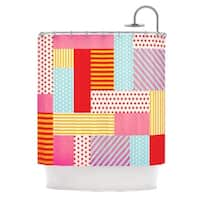 "KESS InHouse Louise Machado ""Geometric Pop"" Red Abstract Shower Curtain (69x70) - 69 x 70"