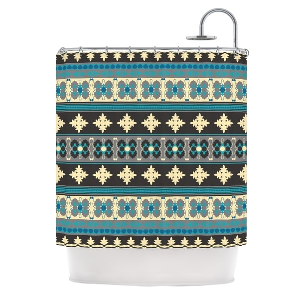 KESS InHouse Nandita Singh Borders Blue Teal Yellow Shower Curtain (69x70)