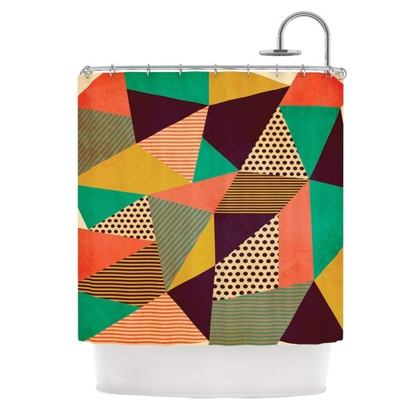 KESS InHouse Louise Machado Geometric Love II Orange Green Shower Curtain (69x70)