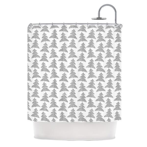 KESS InHouse Michelle Drew Herringbone Forest Black Gray White Shower Curtain (69x70)