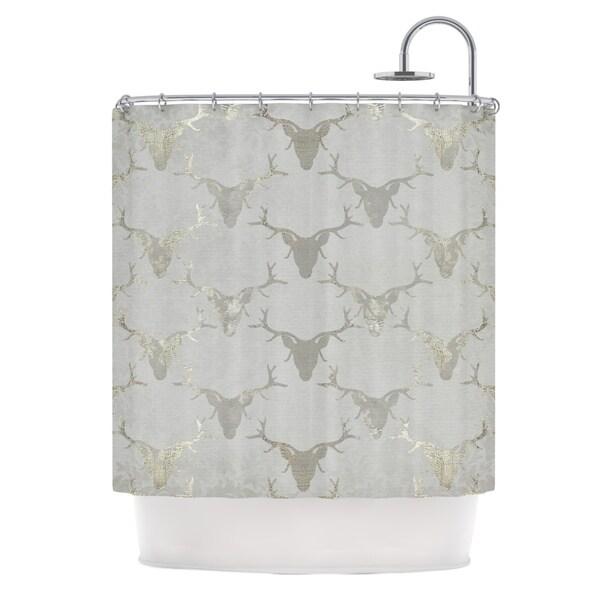 KESS InHouse Michelle Drew Gilded Stags Gray Metallic Shower Curtain (69x70)