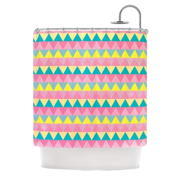 KESS InHouse Louise Machado Triangles Yellow Pink Shower Curtain (69x70)