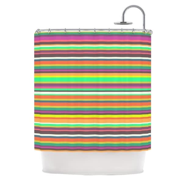 KESS InHouse Nandita Singh Pattern Play Stripes Rainbow Shower Curtain 69x70