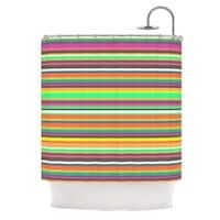 KESS InHouse Nandita Singh Pattern Play Stripes Rainbow Shower Curtain (69x70)