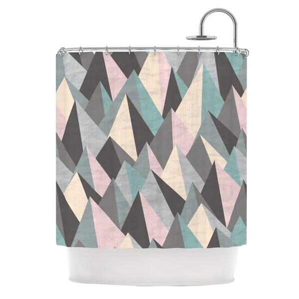 KESS InHouse Michelle Drew Mountain Peaks III Pastel Geometric Shower Curtain (69x70)