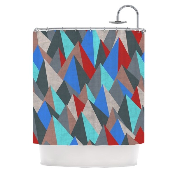 KESS InHouse Michelle Drew Mountain Peaks II Blue Red Shower Curtain (69x70)