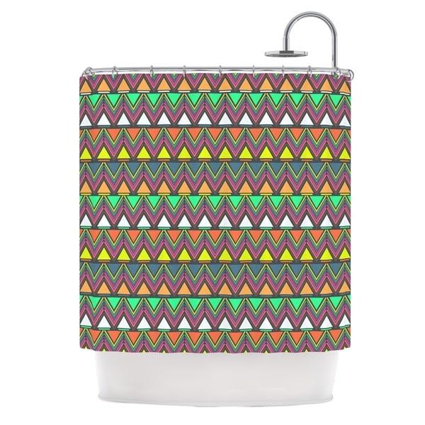 KESS InHouse Nandita Singh Pattern Play Rainbow Chevron Shower Curtain (69x70)