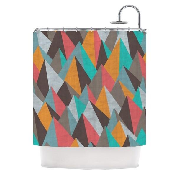 KESS InHouse Michelle Drew Mountain Peaks I Orange Teal Shower Curtain (69x70)