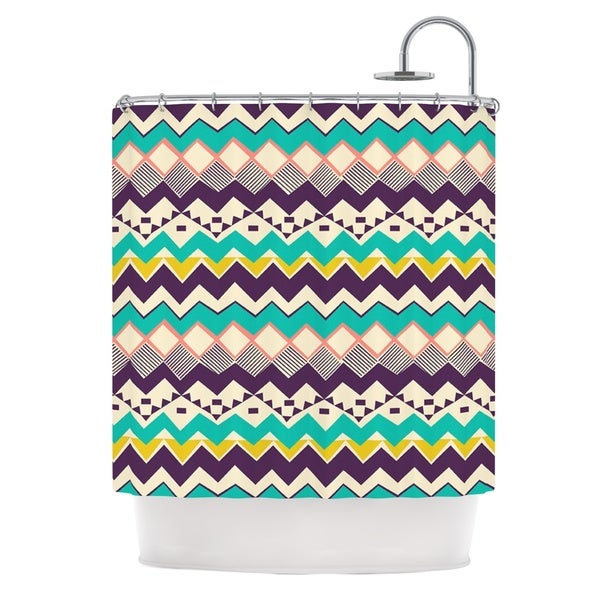 KESS InHouse Louise Machado Ethnic Color Teal Purple Shower Curtain (69x70)