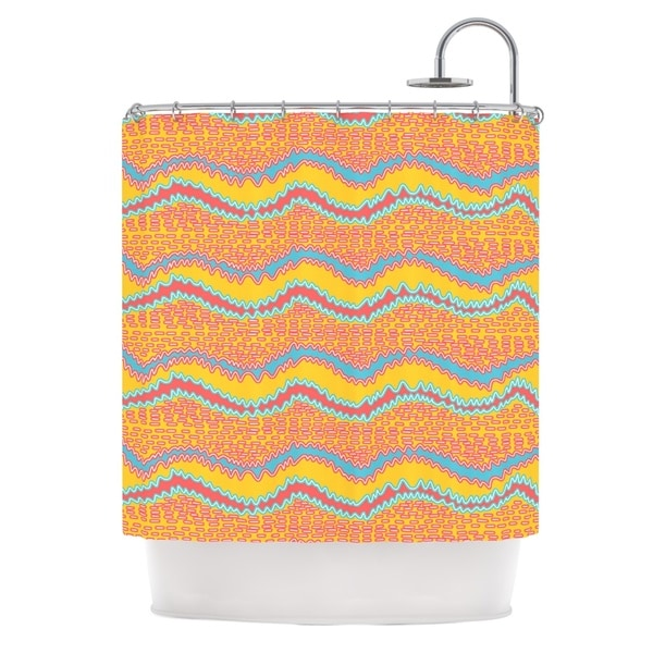 KESS InHouse Nandita Singh Pink Waves Orange Yellow Shower Curtain (69x70)