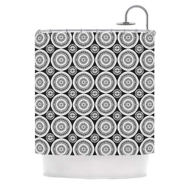 KESS InHouse Nandita Singh Circles Black White Shower Curtain (69x70)