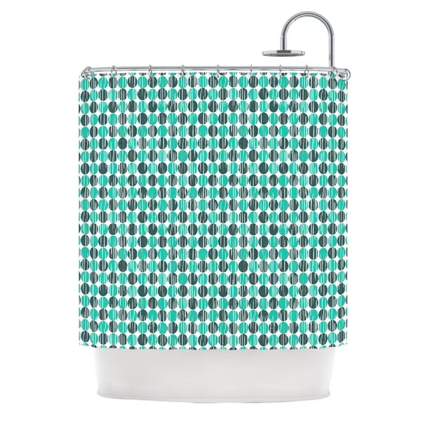 KESS InHouse Michelle Drew Distressed Circles Teal Aqua Shower Curtain (69x70)