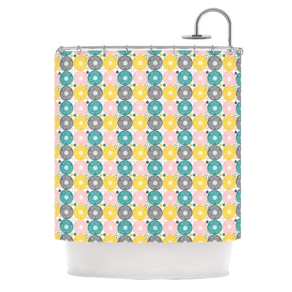 KESS InHouse Nandita Singh Christmas Celebration Teal Pink Shower Curtain (69x70)