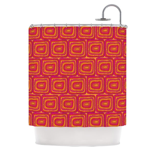 KESS InHouse Nandita Singh Bright Squares Red Pink Shower Curtain (69x70)