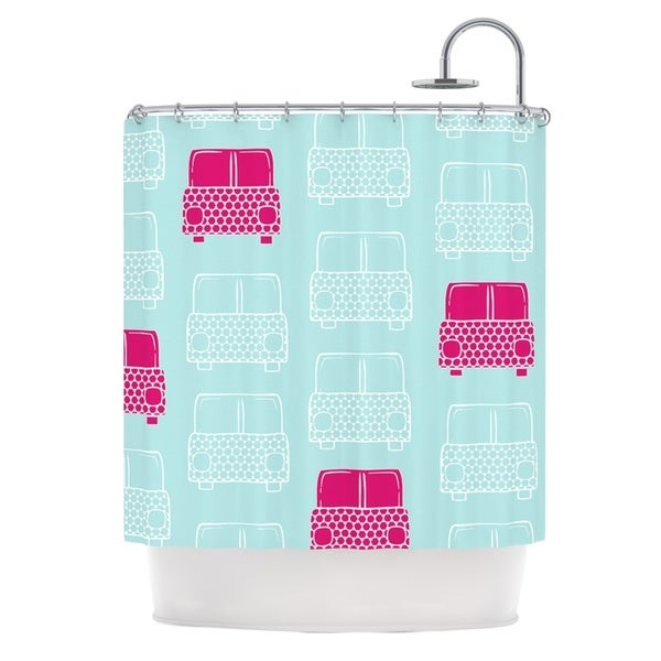 KESS InHouse Michelle Drew Beep Beep Magenta Aqua Shower Curtain (69x70)