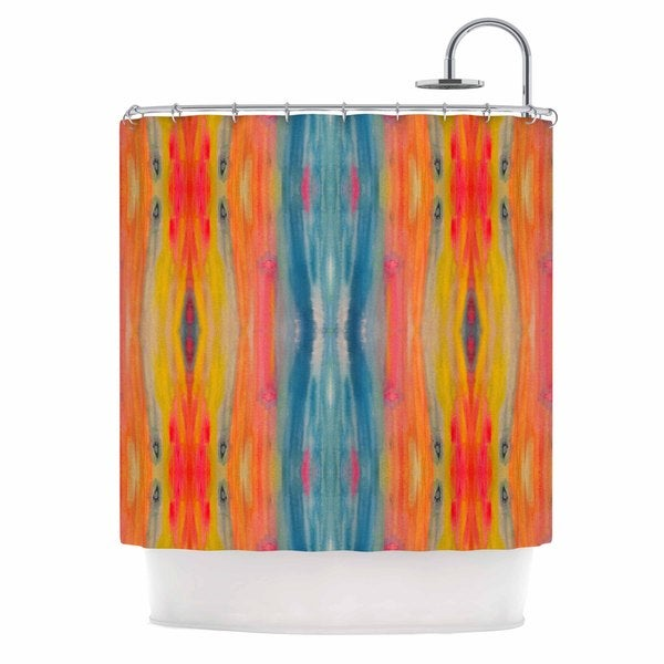 KESS InHouse Nika Martinez Boho Tie Dye Teal Orange Shower Curtain (69x70)