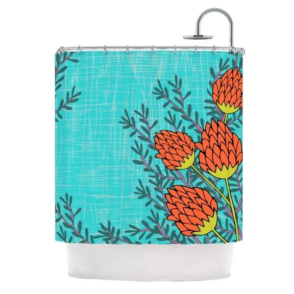 KESS InHouse Nandita Singh Red Flowers Blue Orange Shower Curtain (69x70)