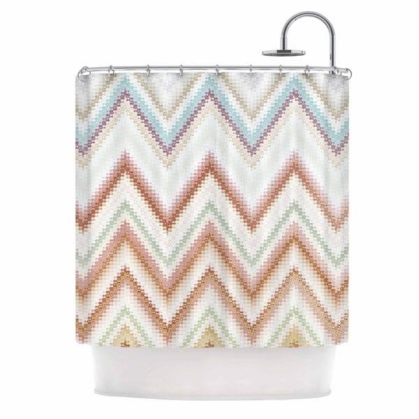 KESS InHouse Nika Martinez Seventies Chevron Beige Pattern Shower Curtain (69x70)