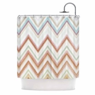 KESS InHouse Nika Martinez Seventies Chevron Beige Pattern Shower Curtain (69x70)