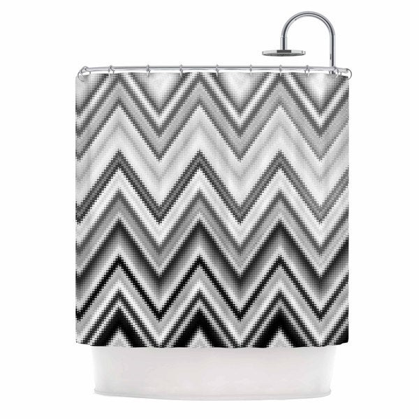 KESS InHouse Nika Martinez Seventies Chevron In BW Black Pattern Shower Curtain (69x70)