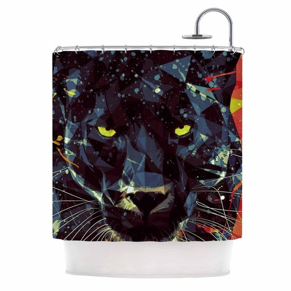 KESS InHouse Mayka Ienova Le Noir Parduc Black Animals Shower Curtain (69x70)